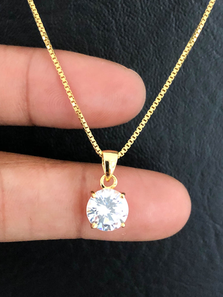 Diamond Solitaire Necklace, CZ Solitaire Pendant, 14k Gold Plated Cz Necklace, Dainty Wedding Necklace, Minimalist Bridal Necklace