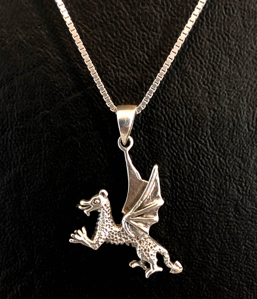 Dragon Necklace, Sterling Silver Playing Dragon Necklace, Dragon Charm Pendant, Tiny Dragon Necklace,  Flying Dragon Necklace, Daughter Gift
