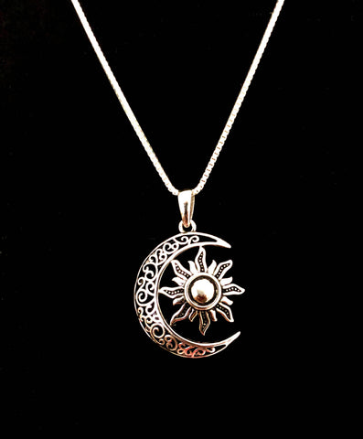 Celtic Necklace, Sterling Silver Celtic Necklace, Crescent Necklace, Moon Charm Pendant,  Sun Charm Pendant, Celtic Moon and Sun Necklace
