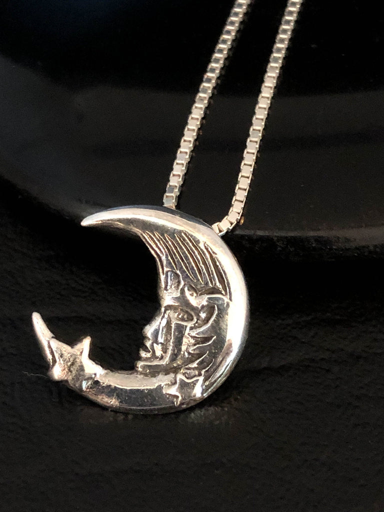 Moon Star Necklace, Sterling Silver Moon Cradling Star Necklace, Moon Charm Pendant, Star Charm Pendant, Celestial Necklace, Crescent Star