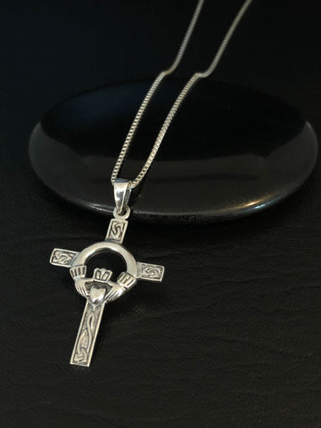 Celtic Cross Necklace, Sterling Silver Claddagh Cross Necklace,  Celtic Jewelry, Irish Jewelry, Christian Jewelry Gift, Religious Jewelry