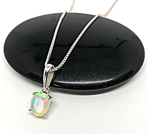 Ethiopian Opal Pendant, Genuine White Opal Necklace, October Birthstone, Sterling Silver Fire Opal Pendant, Natural Gemstone Necklace