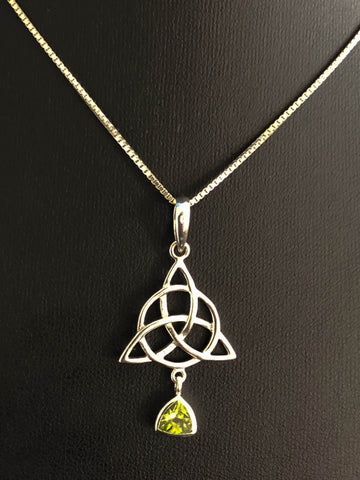 Genuine Peridot Trinity Necklace, Sterling Silver Triquetra Necklace, Peridot Celtic Trinity Knot Necklace, Natural Gemstone Necklace