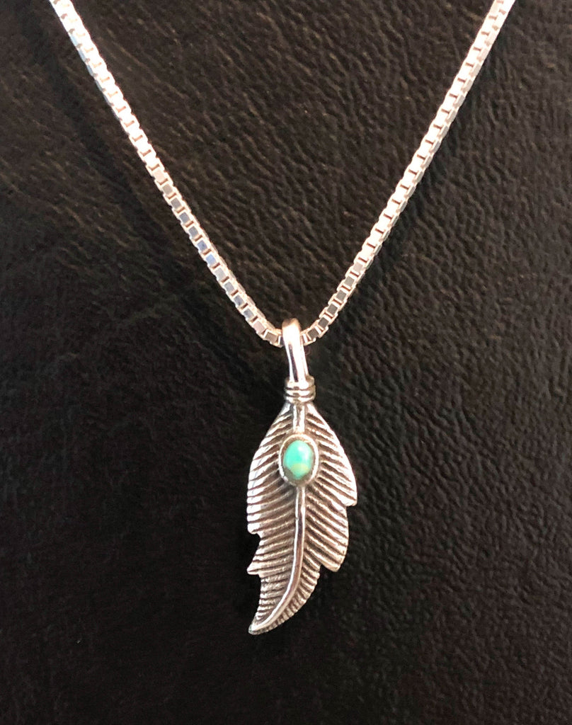 Turquoise Feather Necklace, Sterling Silver Feather Necklace, Tiny Feather Charm Pendant, Boho Chic Feather Necklace, Gifts For Best Friend