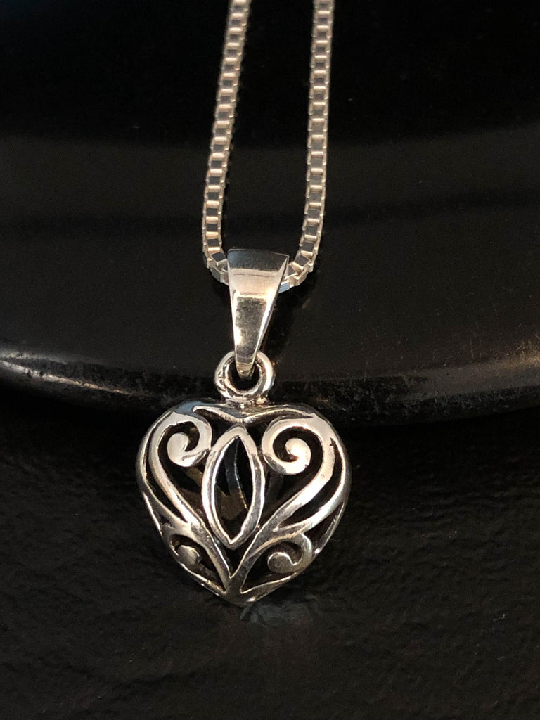 Tiny Heart Necklace, Sterling Silver Filigree Heart Necklace, Heart Charm Pendant, Victorian Heart Necklace, Bridesmaid Gift, Gift For Her