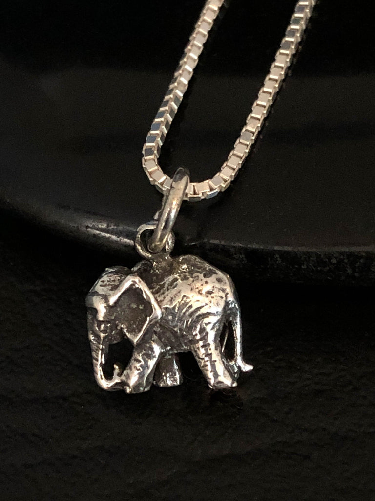 Tiny Elephant Necklace, Sterling Silver Elephant Necklace, Elephant Charm Pendant, Good Luck Elephant Necklace, Best Friend Gift