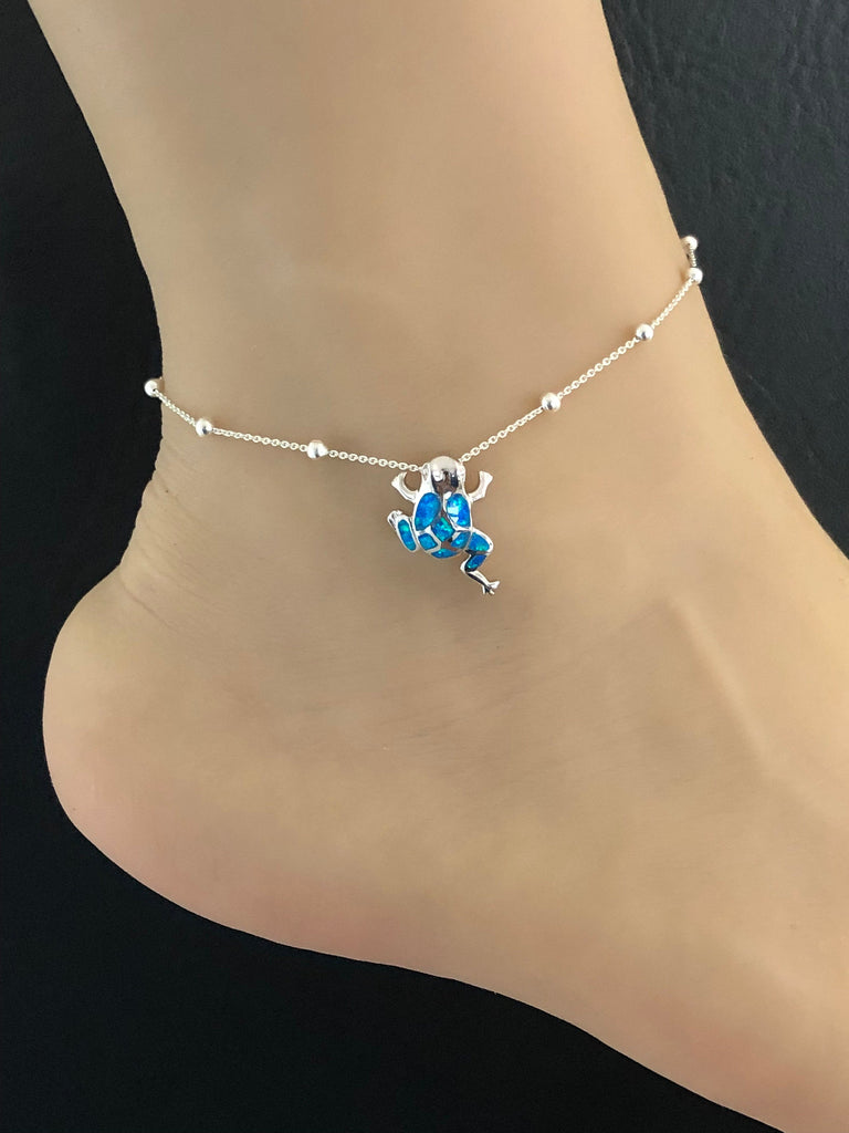 Opal Frog Anklet, Sterling Silver Beaded Ankle Bracelet, Good Luck Charm Jewelry, Frog Charm Anklet, Blue Opal jewelry, Opal Anklet Chain