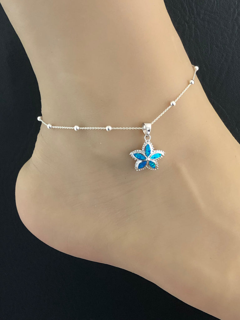 Opal Flower Anklet, Sterling Silver Beaded Ankle Bracelet, Good Luck Charm Jewelry, Flower Charm Anklet, Blue Opal jewelry, Anklet Chain