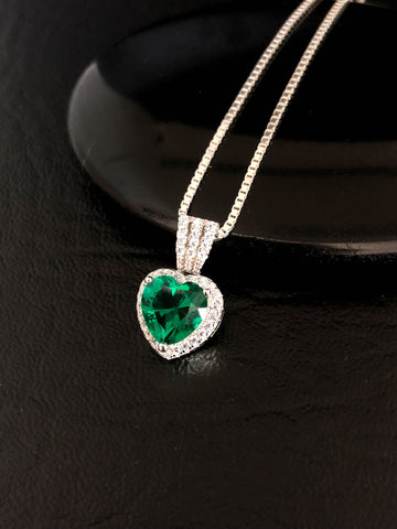Emerald Heart CZ Necklace, Sterling Silver Cubic Zirconia Necklace, Emerald Pendant, May Birthstone Necklace, Green Solitaire Necklace