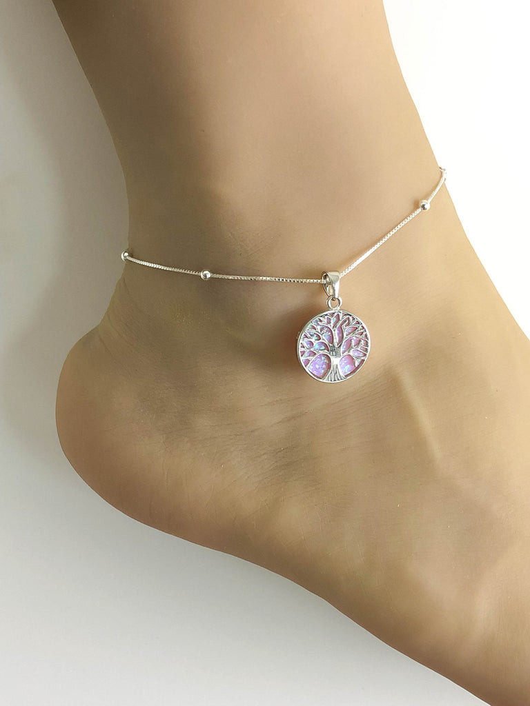 Tree Of Life Anklet, Sterling Silver Beaded Ankle Bracelet, Anklet Silver Charm, Pink Opal Charm Anklet, Fire Opal Anklet, Beach Wedding