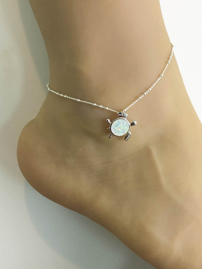 Opal Turtle Anklet, Sterling Silver Beaded Ankle Bracelet, Good Luck Charm Jewelry, Turtle Charm Anklet, White Fire Opal Anklet Chain