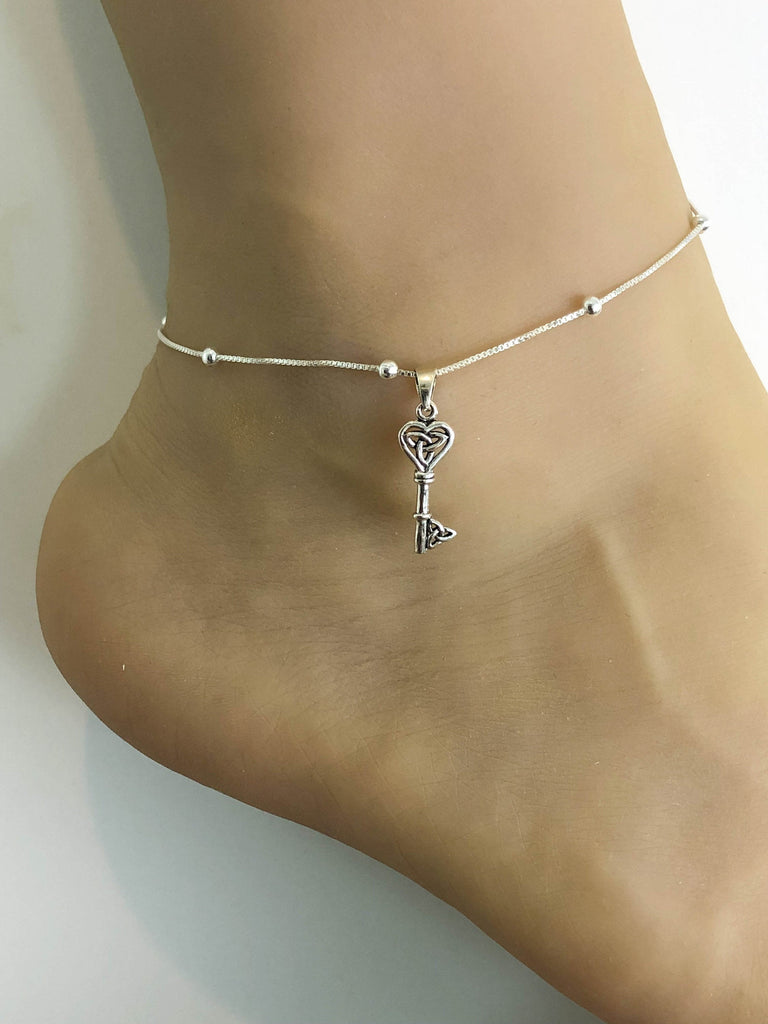 Small Key Anklet, Sterling Silver Beaded Ankle Bracelet, Good Luck Charm Jewelry, Key To My Heart Anklet, Anklet Chain
