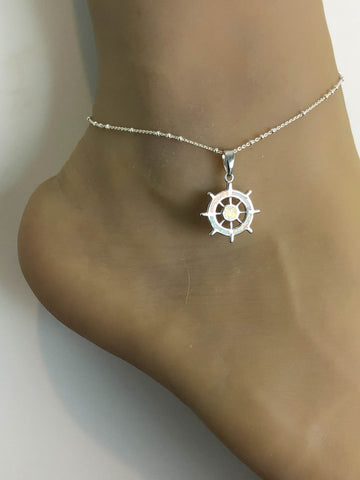 Opal Helm Anklet, Sterling Silver Beaded Ankle Bracelet, Good Luck Charm Jewelry, White Fire Opal Jewelry,  Sailing Wheel Charm Anklet