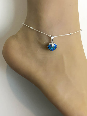 Blue Opal Sea Shell Anklet, Sterling Silver Beaded Ankle Bracelet, Good Luck Charm Jewelry, Sea Shell Charm Anklet, Barefoot Beach Anklet
