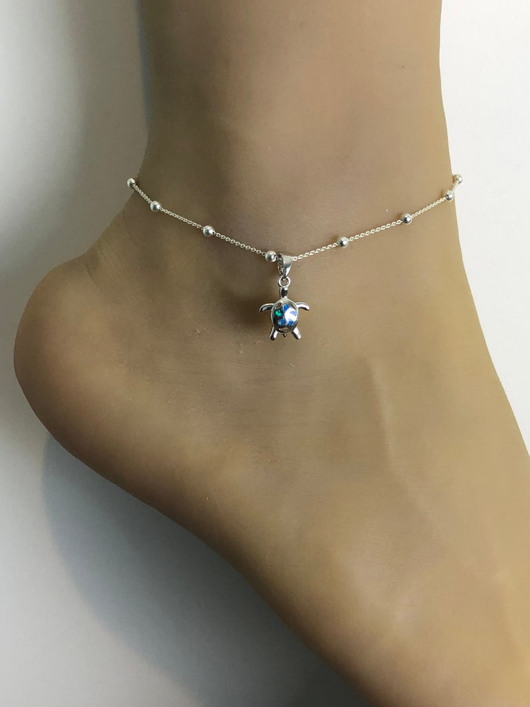 Opal Turtle Anklet, Sterling Silver Beaded Ankle Bracelet, Dainty Blue Opal Charm Anklet, Boho Foot Jewelry, Barefoot Anklet, Beach Wedding