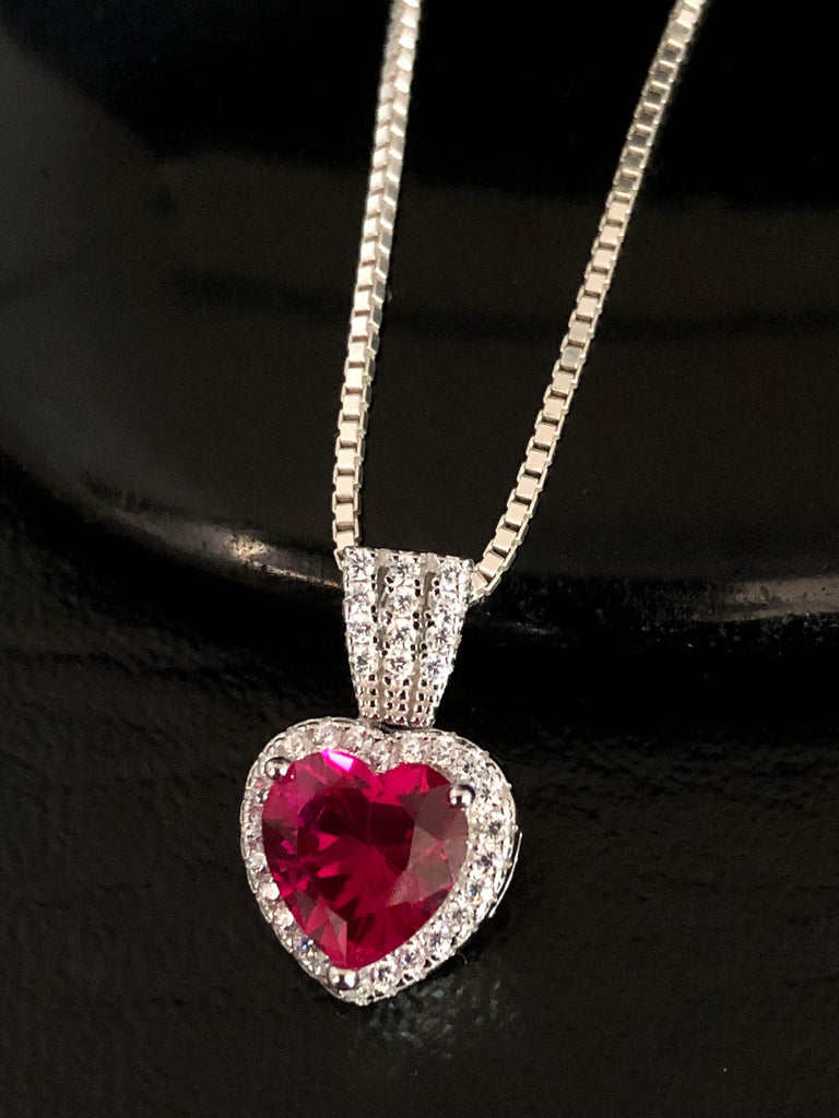 Ruby Heart CZ Necklace, Sterling Silver Cubic Zirconia Necklace, Ruby Pendant, July Birthstone Necklace, Red Solitaire Necklace