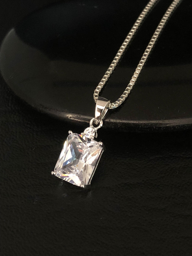Sterling Silver Cz Necklace, Rectangle Cubic Zirconia Necklace, Clear Cubic Zirconia Pendant, Wedding Necklace, Bridal Necklace
