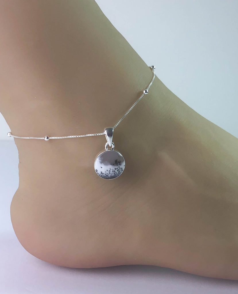 Genuine Merlinite Anklet, Sterling Silver Beaded Ankle Bracelet, Good Luck Charm Jewelry, Natural Dendritic Opal Anklet, Opal Beach Chain