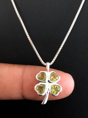 Peridot Necklace, Natural Peridot Pendant, Sterling Silver Green Peridot Necklace, August Birthstone, Natural Gemstone Necklace, Clover Leaf