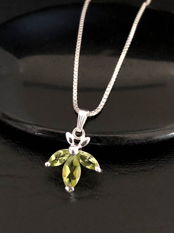 Peridot Petals Necklace, Natural Peridot Pendant, Sterling Silver Peridot Petals Necklace, August Birthstone, Natural Gemstone Necklace