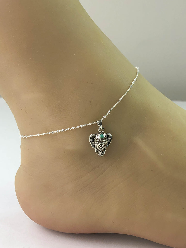 Elephant Anklet, Sterling Silver Beaded Ankle Bracelet, Good Luck Charm Jewelry, Turquoise Elephant Anklet, Elephant jewelry, Anklet Chain