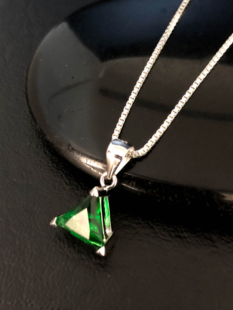 Trillion Cut Emerald Necklace, Sterling Silver Emerald Necklace, Emerald Triangle CZ Pendant, May Birthstone Jewelry, Art Deco Necklace