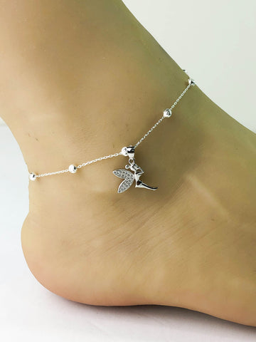 Fairy Anklet, Sterling Silver Beaded Ankle Bracelet, Good Luck Charm Jewelry, Fairy Charm Anklet, Silver Fairy Anklet Chain, Beach Jewelry
