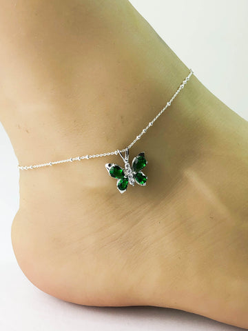 Emerald Butterfly Anklet, Sterling Silver Beaded Ankle Bracelet, Good Luck Charm, Butterfly Charm Anklet, CZ Jewelry, Butterfly Anklet Chain