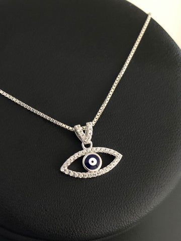 Evil Eye Necklace, Sterling Silver Evil Eye Necklace, Cz Evil Eye Charm Pendant, Evil Eye Jewelry, Protection Necklace, Bohemian Jewelry