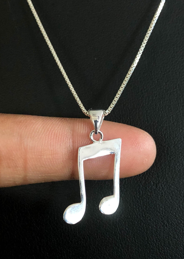 Music Note Necklace, Sterling Silver Music Note Pendant, Layering Necklace, Gift For Her, Music Charm Necklace, Gifts For Daughter