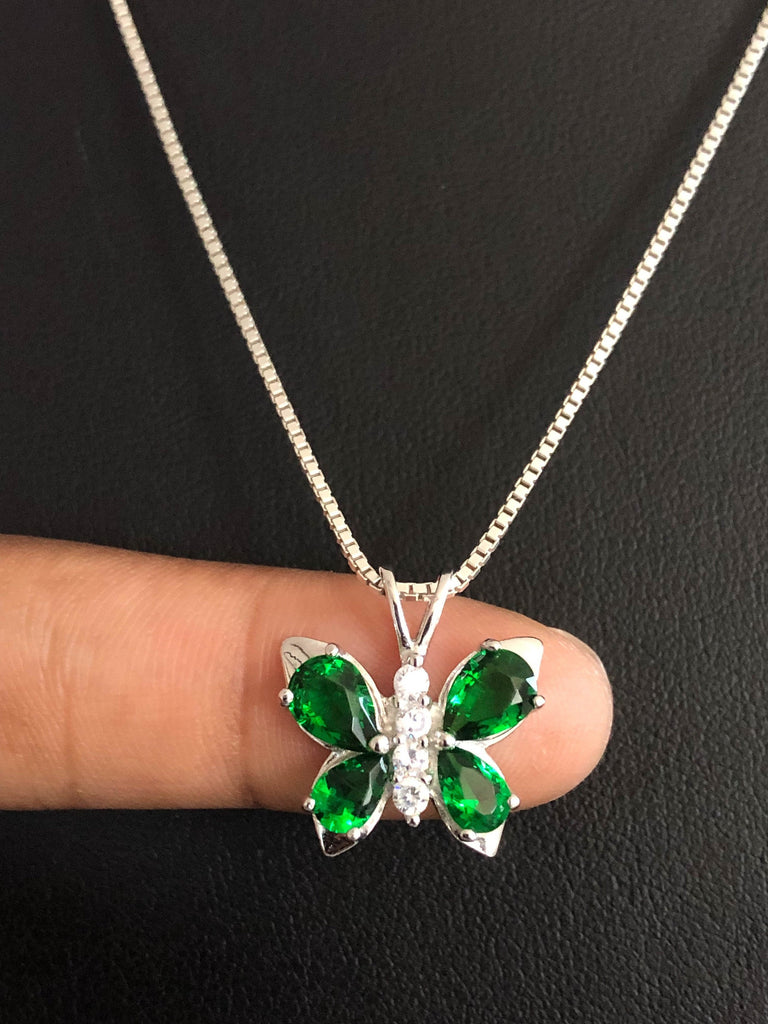 Dainty Emerald Butterfly Necklace, Sterling Silver Butterfly Pendant, May Birthstone Jewelry, CZ Emerald Necklace, Butterfly Charm Pendant