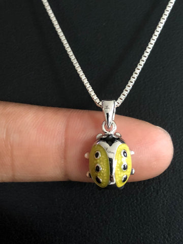 Yellow Ladybug Necklace, Sterling Silver Ladybug Pendant, Dainty Ladybug Charm Necklace, Gift For Little Girls, Tiny Ladybug Jewelry