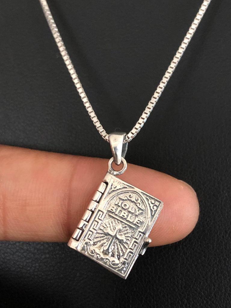 Bible Locket Necklace, Sterling Silver Prayer Book Pendant, Holy Bible Prayer Necklace, Bible With Pages Locket, Spiritual Christian Jewelry