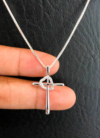 CZ Cross Necklace, Sterling Silver Cross Heart CZ Necklace, Cross Charm Pendant, Crucifix Cross Necklace, Christian Jewelry Gifts
