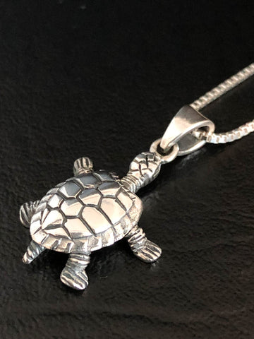 Turtle Necklace, Sterling Silver Turtle Pendant, Filigree Turtle Charm Necklace, Small Sea Turtle Necklace, Turtle Lovers, Nautical Necklace