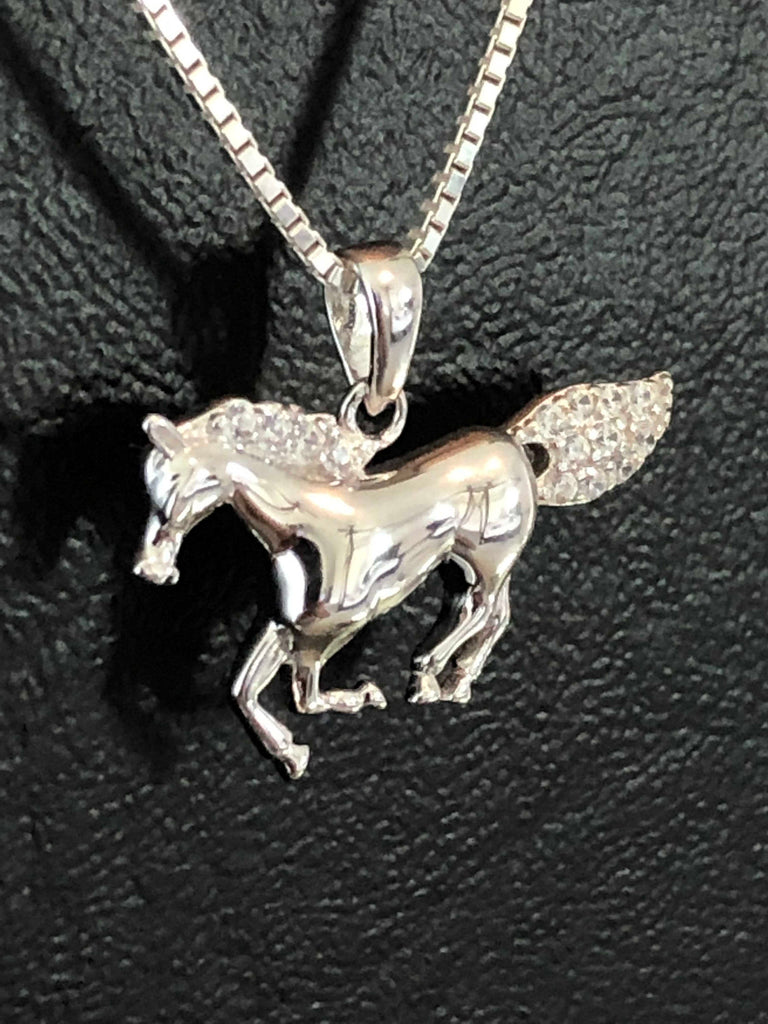 Horse Necklace, Sterling Silver Horse Clear CZ Necklace, Horse Lover Jewelry, Cubic Zirconia Horse Jewelry, Animal Necklace, Daughter Gift