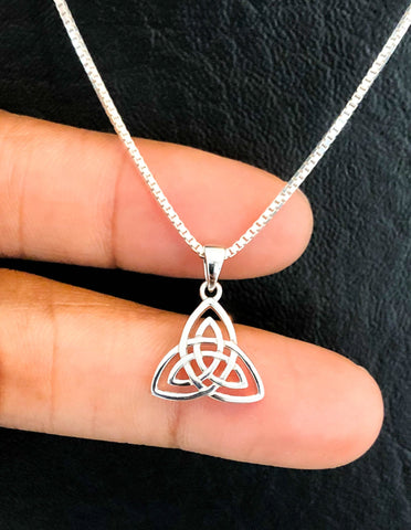 Trinity Necklace, Sterling Silver Triquetra Necklace, Celtic Knot Charm Pendant, Celtic Jewelry, Celtic Trinity Knot, Irish Jewelry