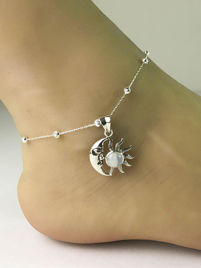 Genuine Moonstone Anklet, Sterling Silver Beaded Ankle Bracelet, Celtic Anklet, Moon and Sun Anklet, Crescent Charm, Beach Wedding Anklet