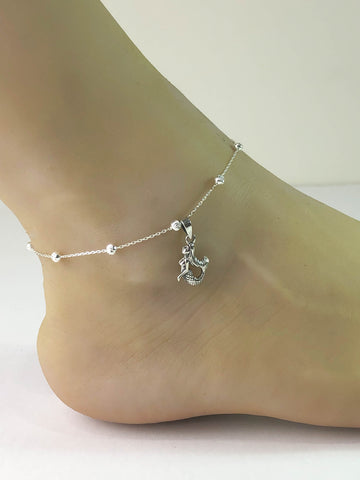 Mermaid Anklet, Sterling Silver Beaded Ankle Bracelet, Good Luck Charm Jewelry, Mermaid Charm Anklet, Mermaid Lover Anklet Chain