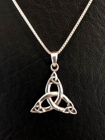 Trinity Necklace, Sterling Silver Celtic Quadruple Triquetra Necklace, Celtic Knot Charm Pendant, Celtic Jewelry, Irish Jewelry