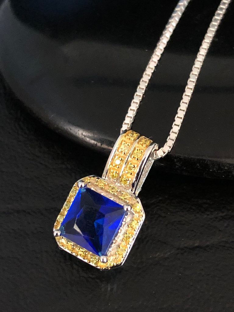 Sterling Silver Blue Sapphire Necklace, Yellow Topaz Necklace, Cushion Cut Sapphire Pendant, September Birthstone, Art Deco Pendant