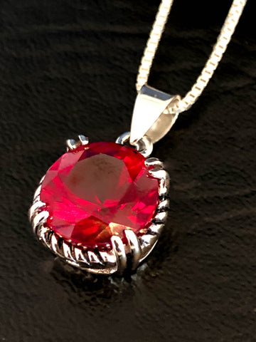 Ruby Cz Necklace, Sterling Silver Cubic Zirconia Necklace, July Birthstone Necklace, Red Ruby Pendant, Anniversary Necklace, Gift For Her