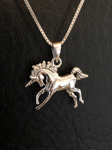 Sterling Silver Prancing Unicorn Necklace, Unicorn Charm Pendant, Whimsical Jewelry, Fantasy Fairytale Jewelry, Magical Necklace, Girl Gift