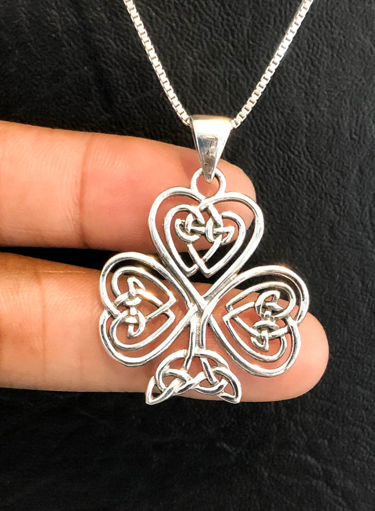 TrinityNecklace, Sterling Silver Celtic Shamrock Necklace, Triquetra Necklace, Celtic Knot Charm Pendant, Celtic Trinity Knot, Irish Jewelry