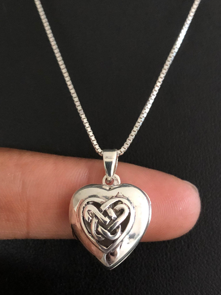 Celtic Heart Locket Necklace, Sterling Silver Locket Pendant, Victorian Locket Necklace, Photo Locket Jewelry, Anniversary Gift for Her