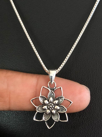 Lotus Flower Necklace, Sterling Silver Lotus Flower Pendant, Lotus Charm Pendant, Lotus Blossom Jewelry, Gift For Her, Dainty Yoga Necklace