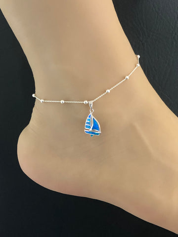 Opal Sailboat Anklet, Sterling Silver Beaded Ankle Bracelet, Anklet Silver Charm, Sailboat Charm Anklet, Summer Anklet, Opal Beach Jewelry