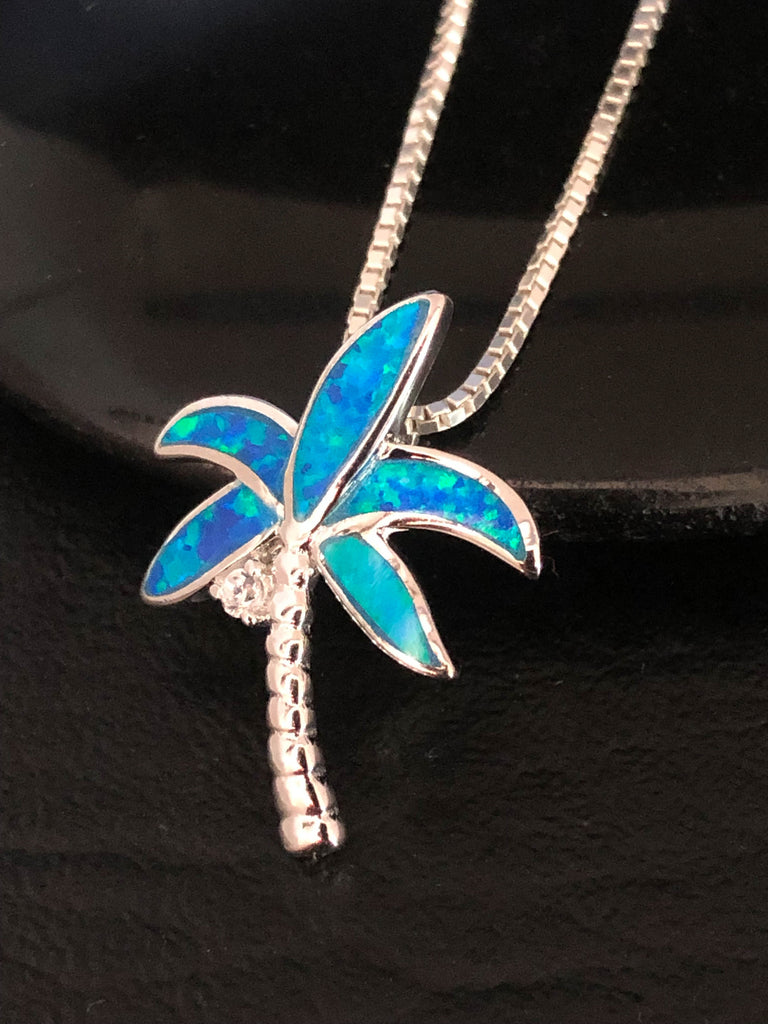 Opal Palm Tree Necklace, Sterling Silver Cz Tree Necklace, Coconut Tree Necklace, Blue Opal Tree Pendant, Palm Tree Charm Pendant