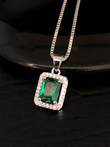 Emerald CZ Necklace, Sterling Silver Emerald Necklace, Emerald Pendant, May Birthstone Necklace, Emerald Rectangular CZ Pendant, Anniversary