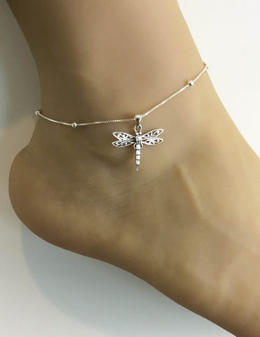 Dragonfly Anklet, Sterling Silver Beaded Ankle Bracelet, Good Luck Charm Jewelry, Boho Foot Jewelry, Dainty Dragonfly jewelry, Anklet Chain